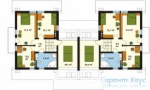 78-proekt.ru - Проект Двухквартирного Дома №15.  План Второго Этажа