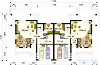 78-proekt.ru - Проект Двухквартирного Дома №11.  План Первого Этажа