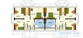 78-proekt.ru - Проект Двухквартирного Дома №23.  План Второго Этажа