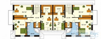 78-proekt.ru - Проект Двухквартирного Дома №6.  План Второго Этажа