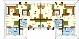 78-proekt.ru - Проект Двухквартирного Дома №9.  План Второго Этажа