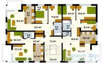 78-proekt.ru - Проект Двухквартирного Дома №14.  План Второго Этажа