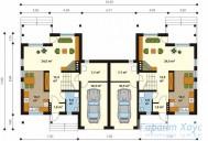 78-proekt.ru - Проект Двухквартирного Дома №15.  План Первого Этажа