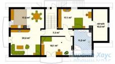 78-proekt.ru - Проект Одноквартирного Дома №157.  План Второго Этажа