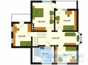 78-proekt.ru - Проект Одноквартирного Дома №304.  План Второго Этажа