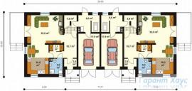 78-proekt.ru - Проект Двухквартирного Дома №6.  План Первого Этажа