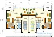 78-proekt.ru - Проект Двухквартирного Дома №5.  План Первого Этажа