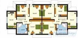 78-proekt.ru - Проект Двухквартирного Дома №19.  План Второго Этажа