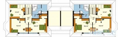78-proekt.ru - Проект Двухквартирного Дома №24.  План Второго Этажа