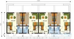 78-proekt.ru - Проект Двухквартирного Дома №8.  План Первого Этажа