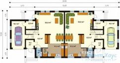 78-proekt.ru - Проект Двухквартирного Дома №19.  План Первого Этажа