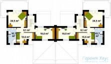 78-proekt.ru - Проект Двухквартирного Дома №1.  План Второго Этажа