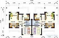 78-proekt.ru - Проект Двухквартирного Дома №1.  План Первого Этажа